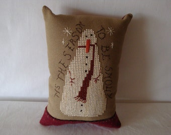 Snowman pillow, small pillow, cross stitched pillow, primitive  snowman, winter theme pillow, pillow embellished with felted wool accent