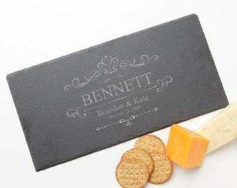 Personalized Slate Cheese Board, Custom Engraved Slate Cheese Board, Personalized Slate, Personalized Wedding Gift, Housewarming, Bridal D35