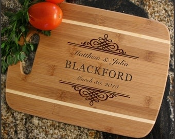 Personalized Wedding Gift, Cheese Board, Custom Engraved Bamboo Cutting Board, Wedding Gift, Anniversary, Housewarming Gift-Thin Stripe D14