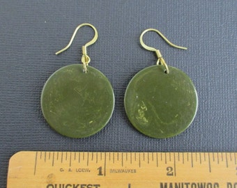 Marbled Green Bakelite Earrings - Pierced and Dangling, Solid Brass Hardware