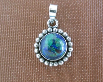 925 Sterling Silver & Blue Green Marbled Stone Pendant - Chrysocolla, Vintage