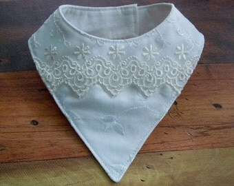 White Embroidered Satin Bib-Style Bandana Scarf for Dogs or Cats