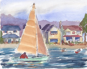 Original Painting, Watercolor and Ink, Seascape Painting, Sailboat, Beach Cottages, Cool Blue, 8 X 10 SFA