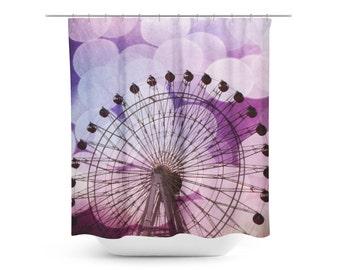 Art Shower Curtain - Ferris Wheel Photo - Bokeh Photography - Purple and Black - Geometric Art - Bathroom Decor - Purple Teen Decor - Modern