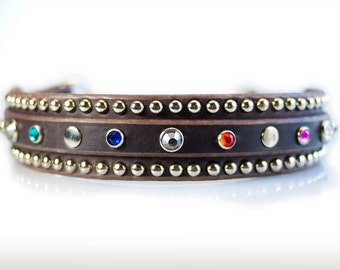 Jeweled Leather Dog Collar Martingale Crystal Dog Collar Leather, Jewelled Dog Collar, Leather Dog Collar, Chain Dog Collar, Dog Collar Cool