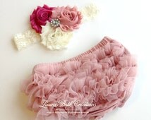 Baby Bloomer Set, Dusty Rose Chiffon Ruffle Bloomer and Headband, Photo Prop Set, Newborn Bloomer, Vintage Pink Bloomer, Ruffle Diaper Cover