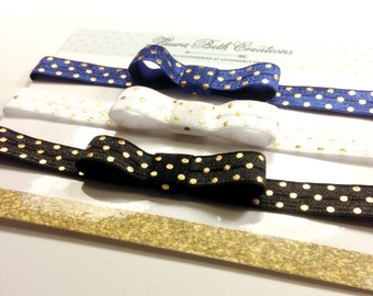 Gold Polka Dot Headband Set, Baby Headband Set, Gold Headband, Newborn Headband, Infant Headband, Children's Headband,Headband Gift Set