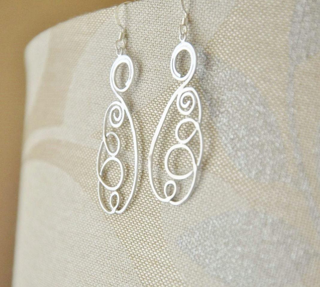 Silver Long Swirls Earrings - Rhodium plated, Modern Contemporary Design, Simple Minimalist, Unique, Chic Elegant