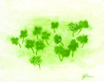 Shamrock Patch Watercolor - 4 x 5  original paining