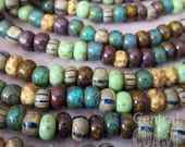 Summer Solstice - Aged Striped 31/0 Czech Glass Rocaille Seed Bead Mix (30) 7mm Bohemian Earthy Tribal Rustic Picasso - Central Coast Charms
