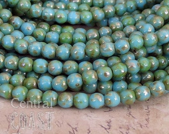 Tombstone Turquoise Blue 4mm Czech Glass Bead Smooth Round Druk (50) - Gold Brown Picasso Bohemian Rustic Earthy Boho - Central Coast Charms