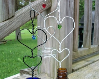 One Unique Everyday Heart Within A Heart Hanging Rooting Vase With Swarovski Crystals
