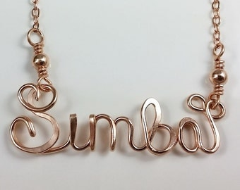 Calligraphy Script Personalized Name Necklace in Heavy Gauge 14k Rose Gold Filled Wire