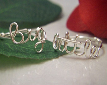 Sterling Silver Sorority Big and Little Sister Rings, Big Sister, Little Sister Rings, Personalized Rings