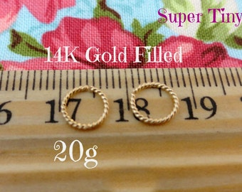 Gold Filled Super Tiny Twist Wire Endless Hoops