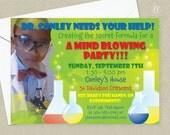 Science Birthday Party Invitation - Photo Card Birthday Invitation - Scientist Birthday Invitation