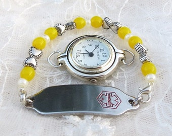Child Interchangeable Stretchy Medical ID or Watch Bracelet