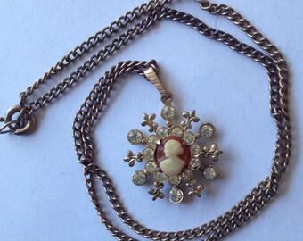 Sale Vintage Cameo Fleur de Lis Rhinestone Pendant Necklace