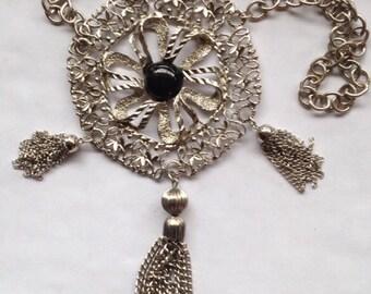 Vintage Huge Detailed Silver Tone Pendant Necklace Black Cabochon Tassels