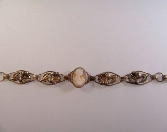 1940s Sterling Cameo Floral Bracelet