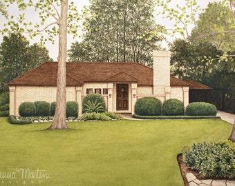 11X14 Custom Watercolor Rendering Illustration Home Wedding Venue