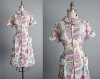 50's Floral Dress // Vintage 1950's Rose Print Full Cotton Garden Party Casual House Dress L