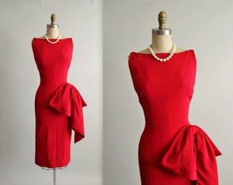 STOREWIDE SALE 50's Evening Dress //  Vintage 1950's Sexy Red Fitted Cocktail Party Bombshell Swag Dress by Symphony S M