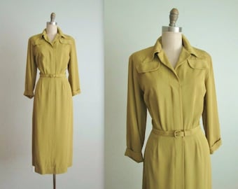 40's Shirtwaist Dress // Vintage 1940's Vibrant Gabardine Shirtwaist Dress M