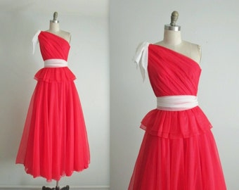 Vintage One Shoulder Gown //  Vintage 1970's Red Chiffon Cocktail Party Evening Prom Dress Gown XS