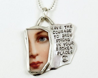 Silver Courage Jewelry, Silver Inspirational Jewelry, Sterling Meaningful Jewelry, Robin Wade Jewelry, The Courage To Grow Strong, 2032