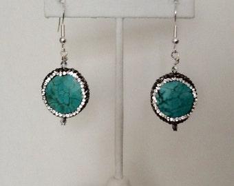 turquoise halo earrings