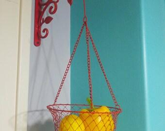 Vintage Bright Red Wire Hanging Kitchen Basket, Kitchen Hanging Basket