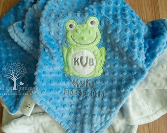 Frog Personalized Minky Baby Blanket, Personalized Minky Baby Blanket, Personalized Baby Gifts, Frog Appliqued Minky Baby Blanket