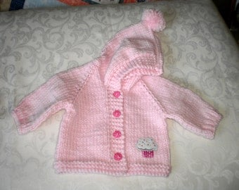 Baby Pink Knitted Hoodie for 6 to 12 Months