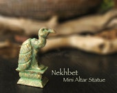 Mini Nekhbet Altar Statue - Egyptian Vulture - Patron Goddess - Protector of Children and Expectant Mothers - Handcrafted with Brass Patina