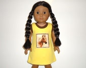 Sleeveless nightie nightgown 18 inch doll cotton knit yellow brown horse american made girl