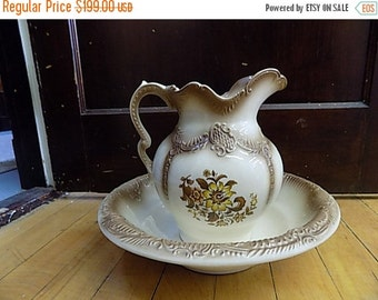 Antique Wash Basin & Pitcher - Embossed Brown Yellow!!  Full Size Ironstone