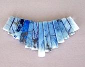 Blue howlite graduated fan bead set, blue stone focal, dyed blue necklace focal piece, variegated blue howlite fan set