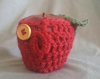 Crochet Apple Cozy With Button Closure
