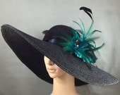 Black Kentucky Derby Hat with Green feathers, Derby Hat, Church Hat, Dressy Hat ,Formal Hat, Wedding Hat,Special Occasion