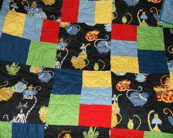 """CLEARANCE CATS  QUILT Unisex  appx 63"""" x 84"""""""" lap/twin/child's bed Sale Handmade colorful crazy cats  green, blue, yellow, red, orange"""