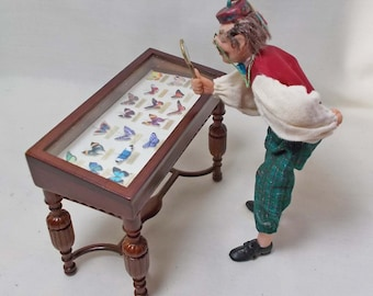 Dolls house miniatures Bespaq Glass Butterfly Display Collector's Table
