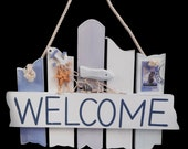 Blue White Welcome Sign CN705, Wreath Decor