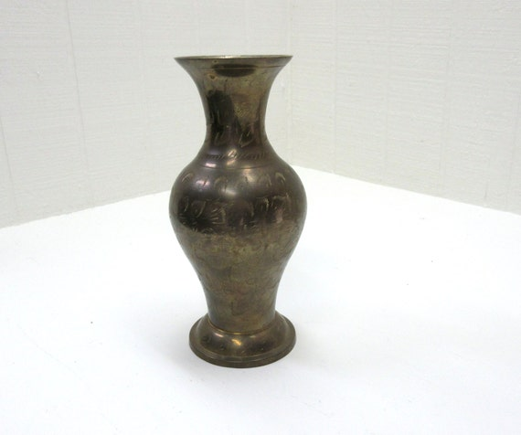Vintage Brass Vase With Etched Floral Design Brass Flower Vase