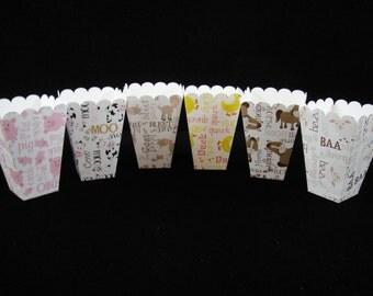 Farm Animals Mini Popcorn Boxes, Treat Boxes, Birthday Parties, Party Favors, Paper Treat Box, Farm Party, Popcorn Box - Qty 6