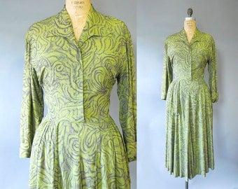 1940s Rayon Dress / Crayola Dress / late 40s