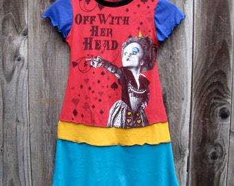Off With Her Head Alice in Wonderland Upcycled Dress Size 6/7