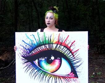 30x40 in Extra Large Stretched Canvas Print - Rainbow Pop Art Edgy Eye Painting - Eye III Alternative Punk Rock Decor