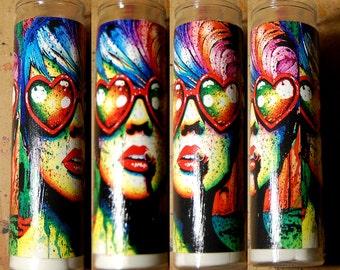 Prayer Candle - Electric Wasteland - Punk Rock Edgy Pop Art Splatter Portrait - Decorative Home Decor Functional Art Candle