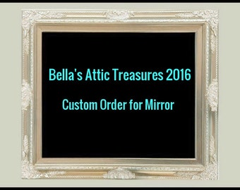 Shabby Chic, Ornate Mirror, Shown in Tan and Cream,Custom Size Mirror, Made of Wood. 44 x 32